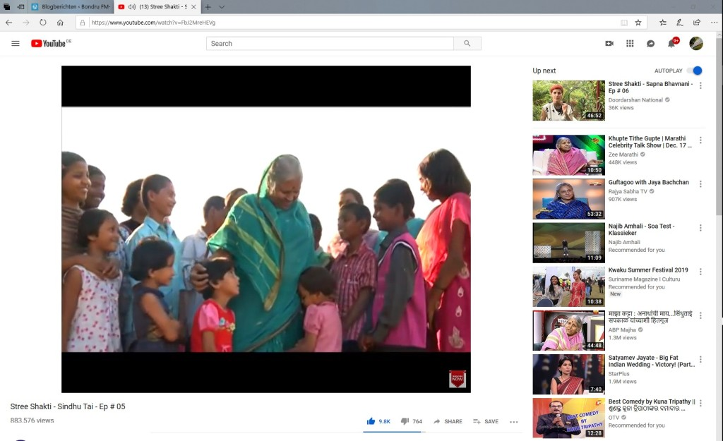 "Dr Sindhutai Sapkal, affectionately known as the ""Mother of Orphans"""
